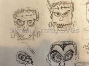 Frankenstein Head Box Sketch